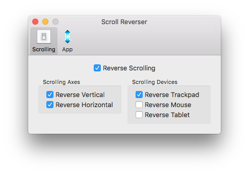 Scroll Reverser Settings