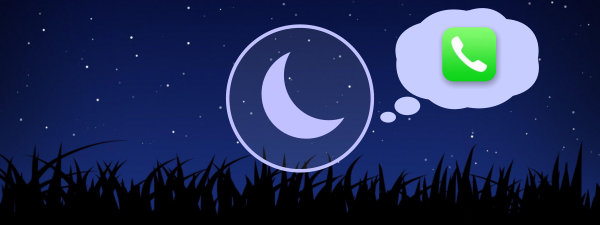 Do Not Disturb icon above a starry night sky with the Phone app icon in a thought bubble