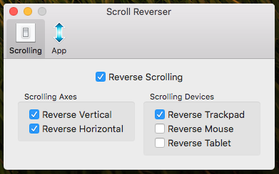 Scroll Reverser Preferences Panel