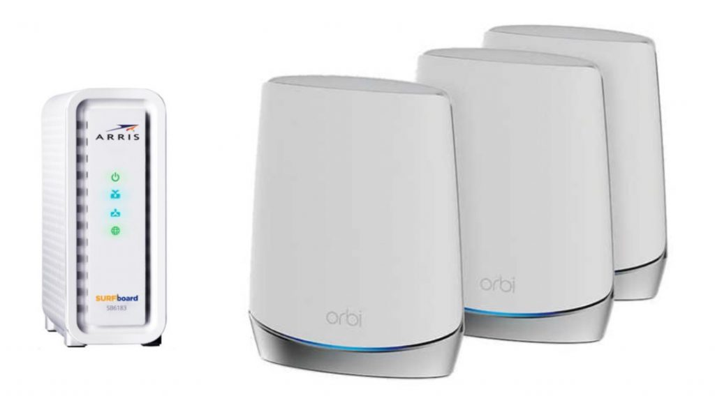 Arris modem with Netgear Orbi mesh router system