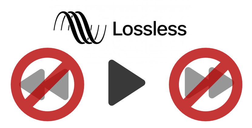 Apple Lossless icon with standard play control buttons of which Rewind and Fast Forward are crossed out.